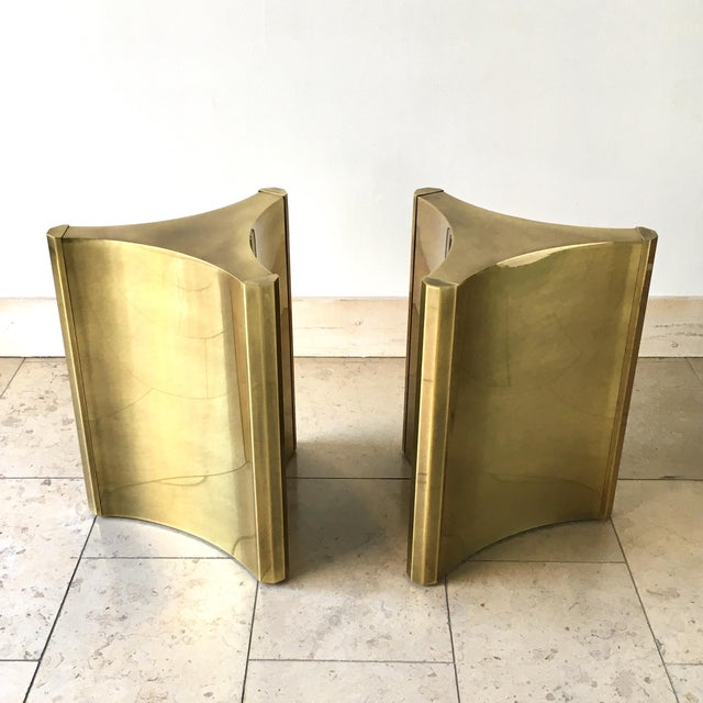 Mid-Century Modern Pair of Mastercraft Designed Pedestal Table Bases 1970s For Sale - Image 3 of 7