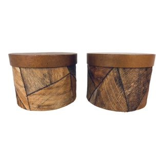 1970s Vintage Natural Palm Marquetry Decorative Containers by Palecek- A Pair For Sale