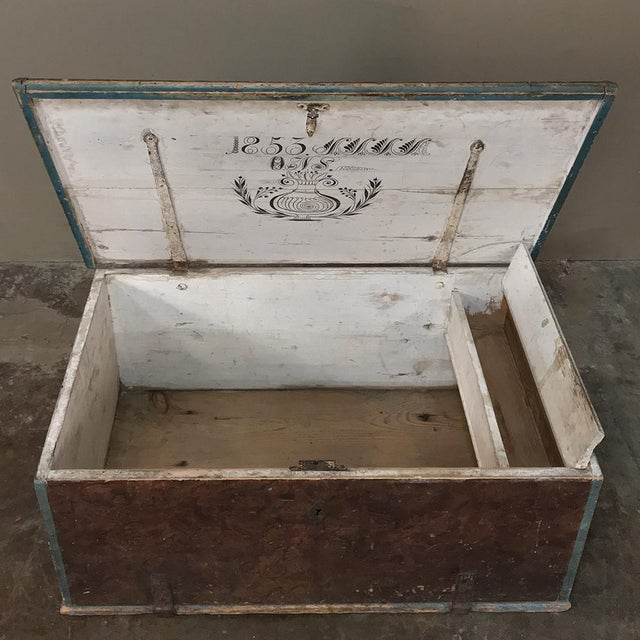 Mid 19th Century 19th Century Rustic Swedish Painted Trunk For Sale - Image 5 of 13