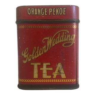 Early 1900's Golden Wedding Orange Pekoe Tea Tin Box For Sale