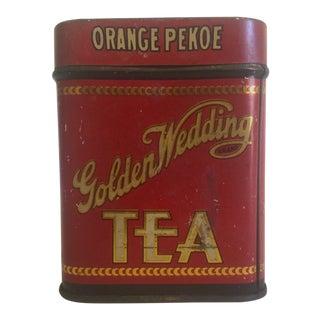 "Rare Vintage Early 1900's "" Golden Wedding Orange Pekoe Tea "" Lithograph Print Tin Box For Sale"