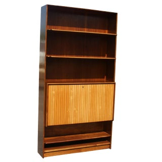 Mid-Century Bookcase With Hide-Away Mini Bar For Sale