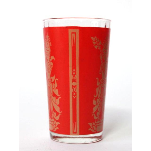 Folk Art Vintage Red & Gold Siam Glasses - Set of 6 For Sale - Image 3 of 5