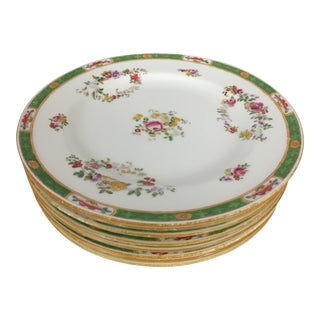 Antique Minton Green Trim Floral Plates - Set of 8 For Sale