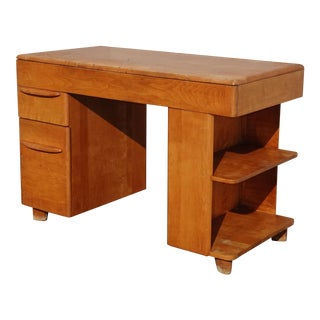 Vintage Mid Century Modern Heywood Wakefield Writing Desk Solid Maple French For Sale