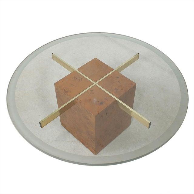Danish Modern Milo Baughman X-Base Glass & Burled Wood Coffee Table For Sale - Image 3 of 9