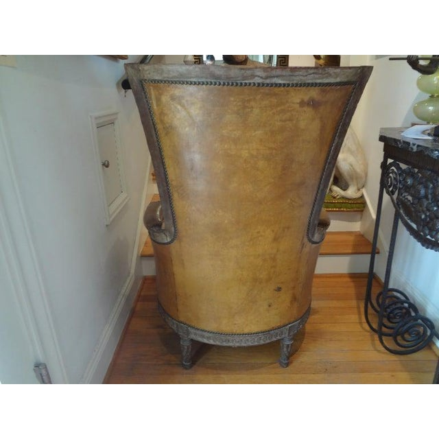 Antique French Louis XVI Style Bergere With Distressed Leather Upholstery For Sale - Image 10 of 13