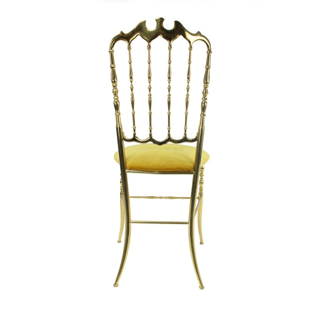 Art Deco 1950's Vintage Chiavari Italian Hollywood Regency Gold Gilded Brass Vanity Chair For Sale - Image 3 of 8