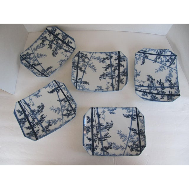Asian Blue & White Bamboo Design Sushi Plates- 5 Pieces For Sale - Image 3 of 4