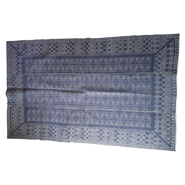 Hand Embroidered Indigo Tribal Rug - 2′6″ × 5′ - Image 1 of 6
