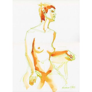 Yevgenia Watts Stories Watercolor Nude Painting For Sale