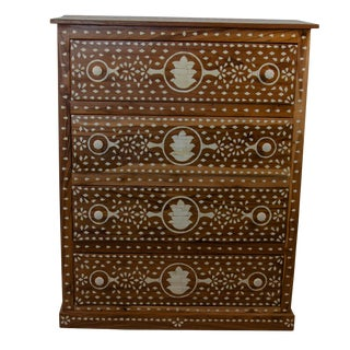 Indian Bone Inlay 4-Drawer Dresser For Sale