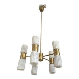 Orrefors Vintage Five-Arm Chandelier Brass & Glass 1960's