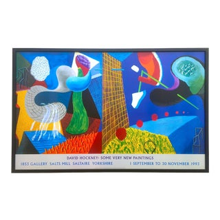 "David Hockney Rare Vintage 1993 "" the Other Side "" Lithograph Print Framed Collector's Pop Art Exhibition Poster For Sale"