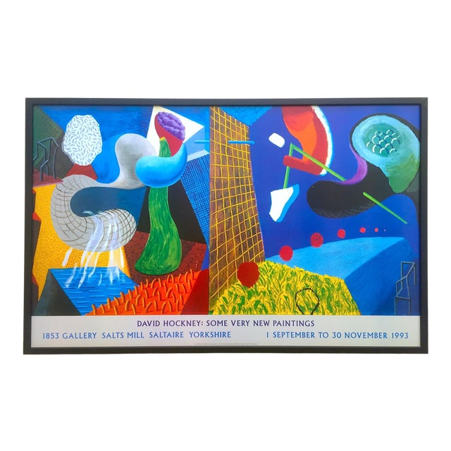 """David Hockney Rare Vintage 1993 """" the Other Side """" Lithograph Print Framed Collector's Pop Art Exhibition Poster For Sale"""