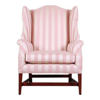 Pink Baker Furniture Wingback Lounge Chair For Sale