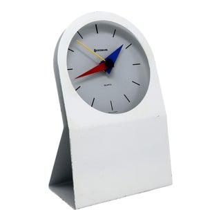 1980s Postmodern Benchmark Quartz Desk Clock For Sale