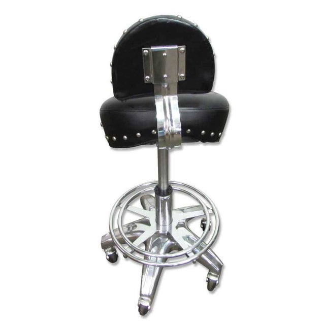 Studded Black Leather Stool For Sale - Image 6 of 10