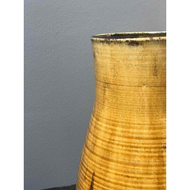 Mid-Century Yellow French Vase From Pottery For Sale - Image 4 of 5