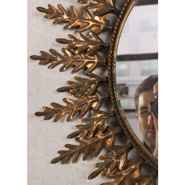 Spanish Spanish Copper-Plated Sunburst Mirror For Sale - Image 3 of 9