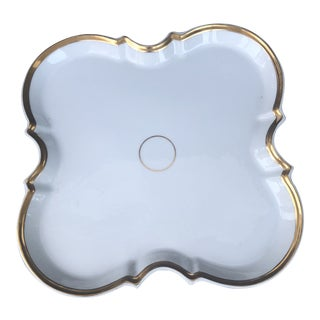 1960s French Holiday 24 Karat Gold Trimmed Serving Platter For Sale