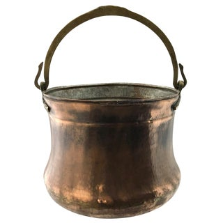 Turkish Copper Bucket | Hand-Hammered Copper Cauldron With Bronze Handles