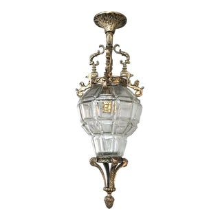 Antique French Baroque Crystal & Bronze Lantern Chandelier For Sale