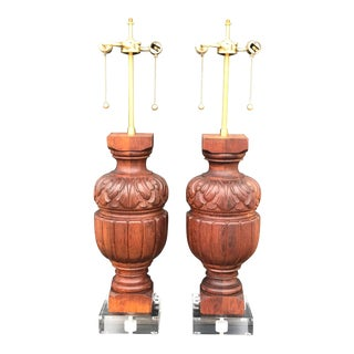 Architectural Baluster Fragments Mounted as Lamps - a Pair For Sale