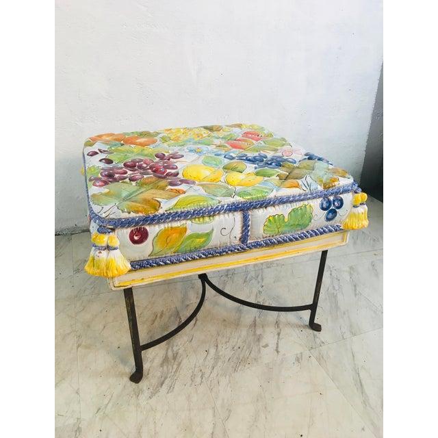 White Italian Ceramic Garden Seat With Iron Base For Sale - Image 8 of 12