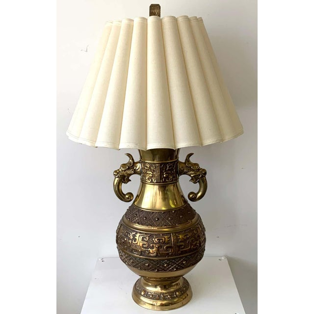 """Huge Chinese brass archaic lamp, by Marbro Lamp Co. As shown with 15"""" H x 21"""" D, display shade 40"""" H x 21"""" 30"""" high to the..."""