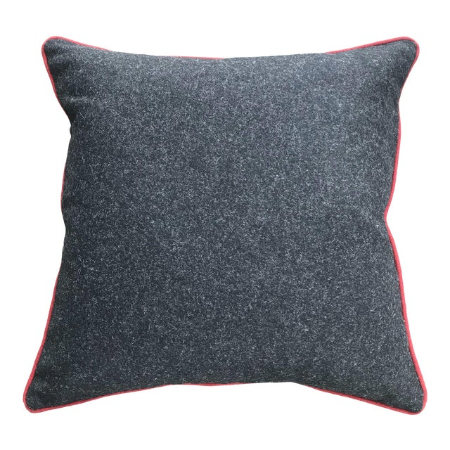British Gray Wool Flannel Pillow With Red Contrast Piping For Sale