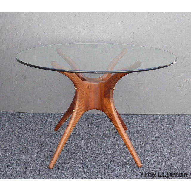 Glass Danish Modern Organic Modernism Carved Walnut Pedestal Glass Top Dining Table For Sale - Image 7 of 11