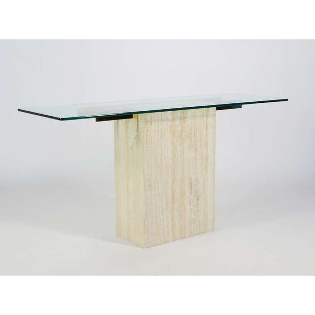 Gold Italian Travertine and Glass Console Table by Ello For Sale - Image 8 of 11