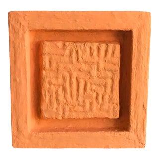 Minimalist Plaster Sculptural Painting in Orange For Sale