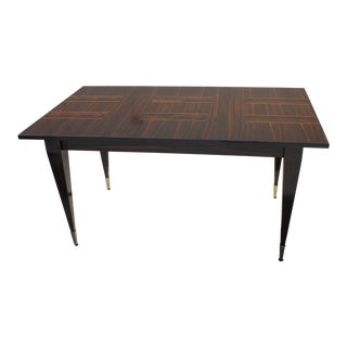 1940s Art Deco Exotic Macassar Ebony Writing Desk / Dining Table For Sale