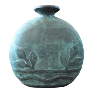 Round Dolbi Cashier Oxidized Brass Vase For Sale