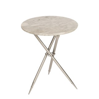 Contemporary Foldable Ethelle Marble Side Table in Silver For Sale