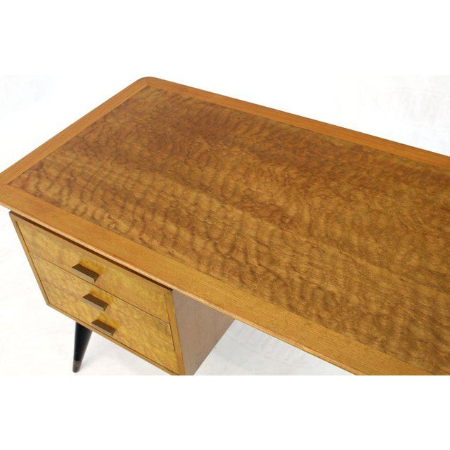 Italian Birch Tiger Maple Exposed Sculptural Legs One Pedestal 4 Drawers Desk For Sale - Image 12 of 13
