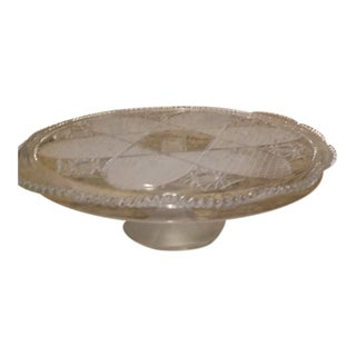 Vintage Frosted & Cut Glass Stemmed Cake Plate