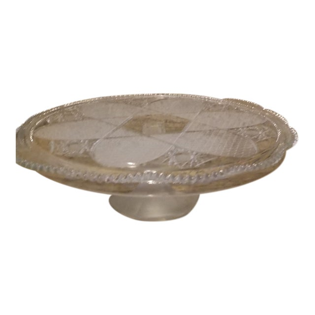 Vintage Frosted & Cut Glass Stemmed Cake Plate For Sale