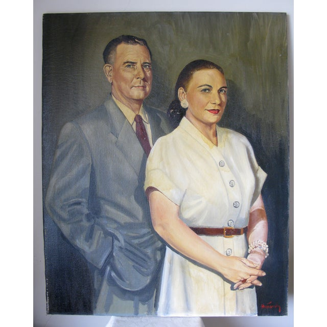 Quirky Oil Painting of Couple on Canvas - Image 2 of 5