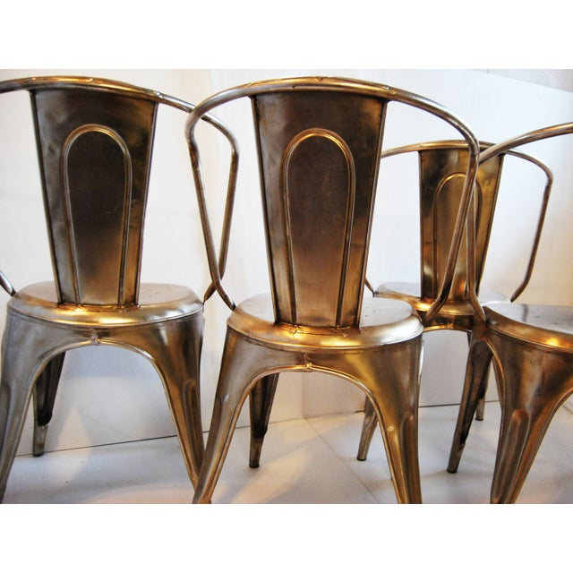 French Industrial Steel Side Chairs - Set of 4 - Image 5 of 7