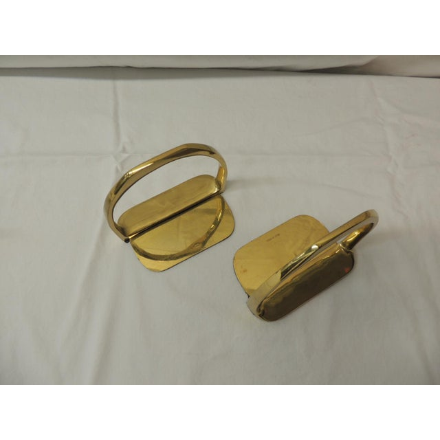 Pair of Brass Hermes Style Horse Saddle Stirrups Bookends For Sale - Image 4 of 5