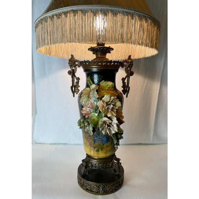 Ebony 19th C. Over-Scale Lamp W/Dramatic 3-Dimensional Floral Details & Orientalist Bronze Mounts For Sale - Image 8 of 13