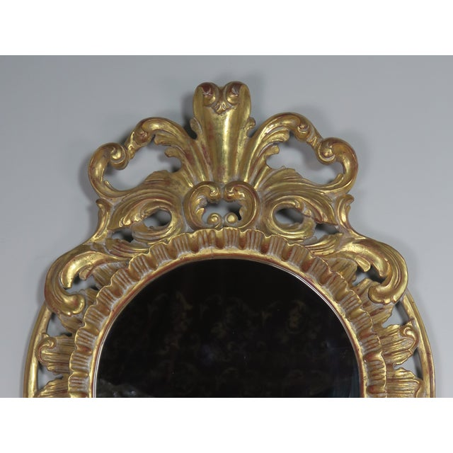 1960s French Gilt Wood Rococo Style Round Shaped Mirror For Sale - Image 5 of 11