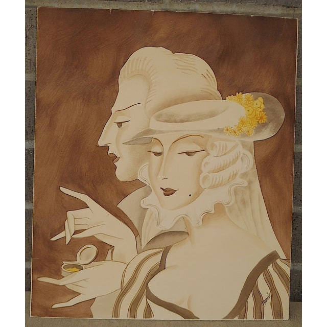 Vintage Mid 20th C. Signed Sepia Gouache Painting - Image 2 of 7