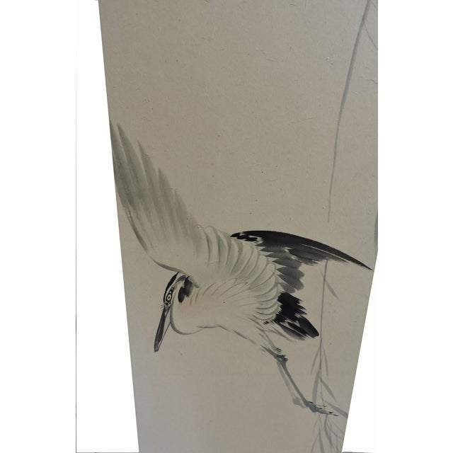 Pair of Hand Painted Japanese Panel Screens With Birds and Flowers For Sale - Image 10 of 13