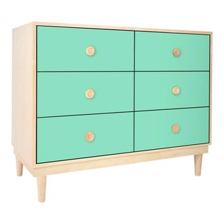 Lukka Modern Kids 6-Drawer Dresser in Maple With Mint Finish For Sale