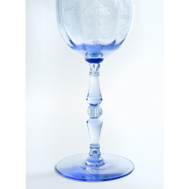 Crystal Vintage Etched Crystal Wine / Water Glassware Set For Sale - Image 7 of 13