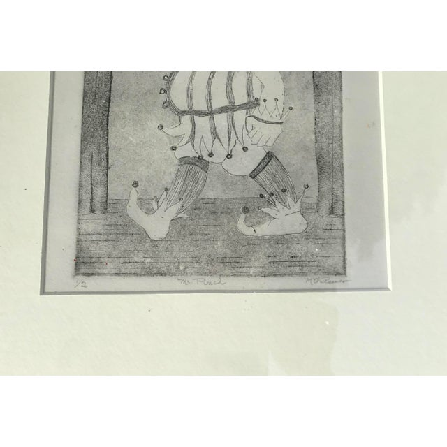 "English Vintage ""Mr. Punch"" Etching Signed M. Reusy For Sale - Image 3 of 4"
